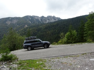 The car in question, a Mitsubishi Pajero Dakar. Yes, the angle of the image is correct! Steep narrow alpine roads in southern Austria